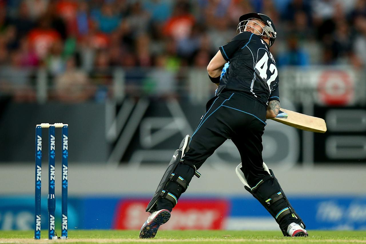 AUCKLAND, NEW ZEALAND - JANUARY 11:  Brendon McCullum of New Zealand ramps the ball over his head during the first T20 between New Zealand and the West Indies at Eden Park on January 11, 2014 in Auckland, New Zealand.  (Photo by Phil Walter/Getty Images)
