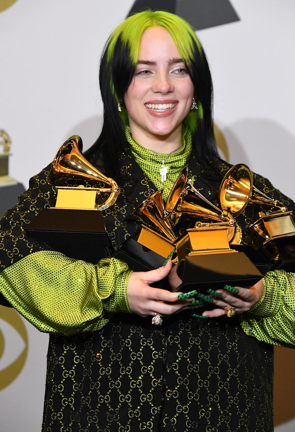Billie Eilish poses at the 62nd Annual GRAMMY Awards at Staples Center on January 26, 2020 in Los Angeles, California. (Photo by Steve Granitz/WireImage)