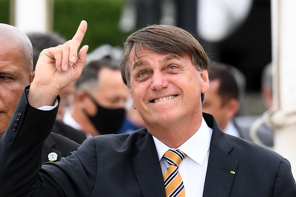 Brazilian President Jair Bolsonaro gestures during the National Flag Day celebration at Planalto Palace in Brasilia, on November 19, 2020. (Photo by EVARISTO SA / AFP) (Photo by EVARISTO SA/AFP via Getty Images)
