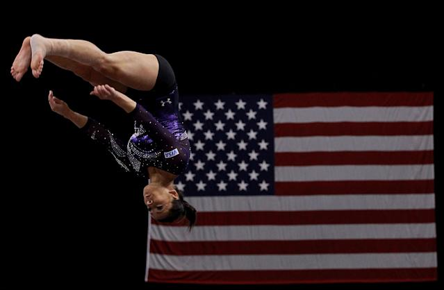 ST PAUL, MN - AUGUST 20: Alicia Sacramone stretches before the Senior Women's competition on day four of the Visa Gymnastics Championships at Xcel Energy Center on August 20, 2011 in St Paul, Minnesota. (Photo by Ronald Martinez/Getty Images)