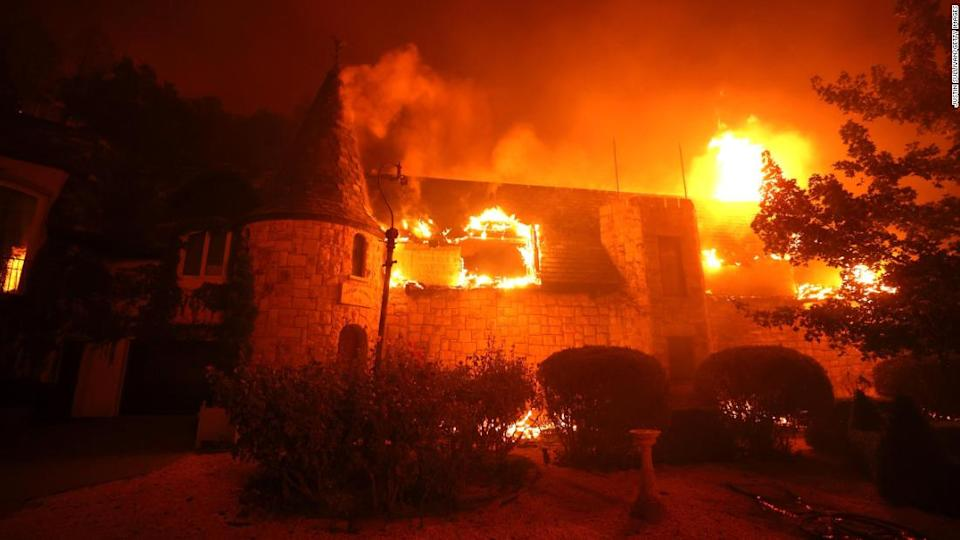 """<p>The Chateau Boswell Winery burns as the Glass Fire moves through the area on September 27, 2020 in St. Helena, California (Photo by Justin Sullivan/Getty Images)</p><div class=""""cnn--image__credit""""><em><small>Credit: Justin Sullivan/Getty Images / Getty</small></em></div>"""