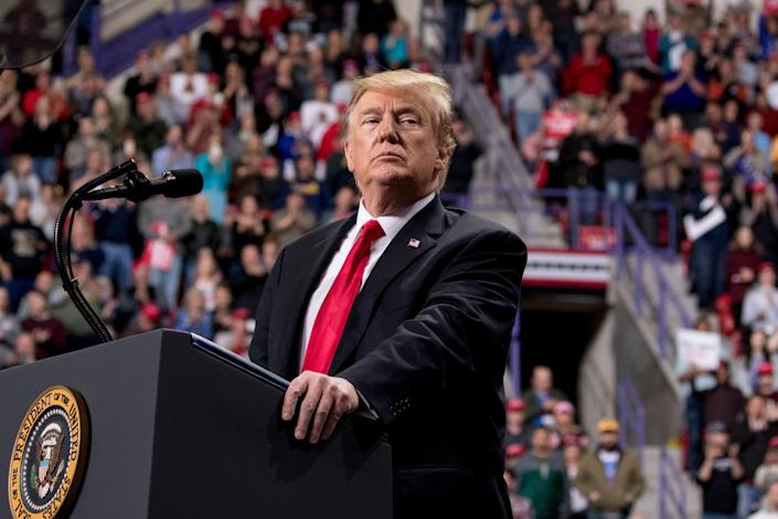 President Donald Trump pauses while speaking at a rally at Resch Center Complex in Green Bay, Wis., Saturday, April 27, 2019. (AP Photo/Andrew Harnik)