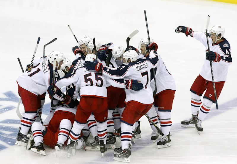 Blue Jackets win first playoff game in franchise history in OT vs ...