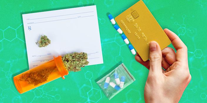 overhead view of marijuana in an orange prescription bottle, pills in a little plastic zip bag, and a hand using a credit card to line up pills on a green background with chemical structure details