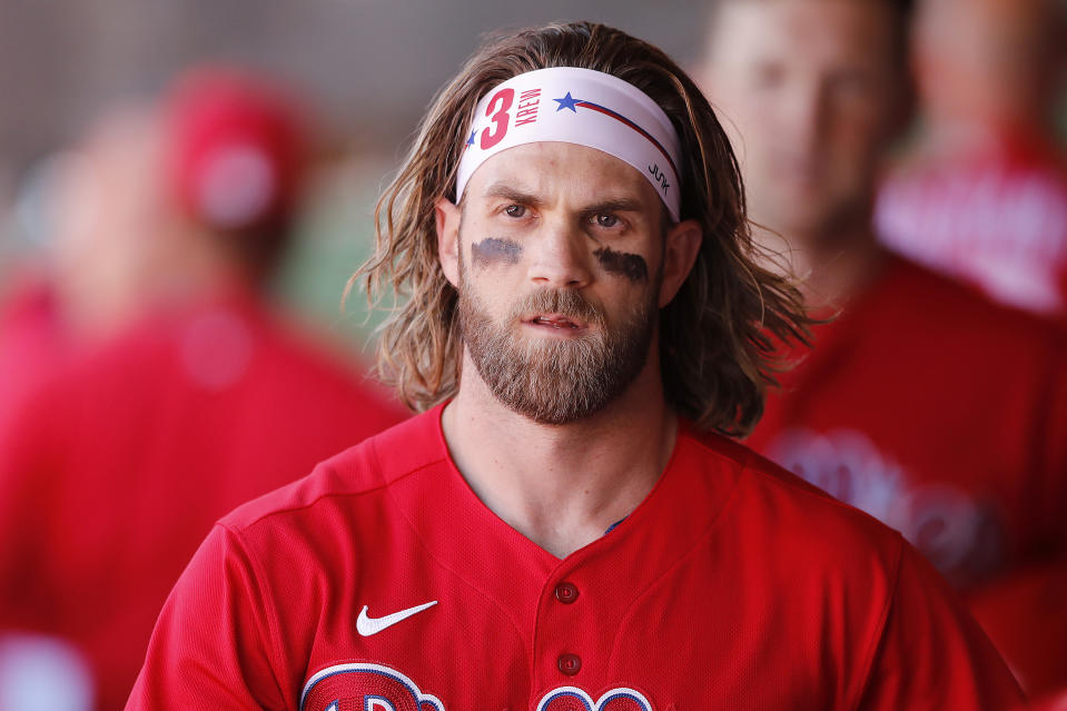 Bryce Harper's ideas for the 2020 MLB season are pretty wild. (Photo by Michael Reaves/Getty Images)