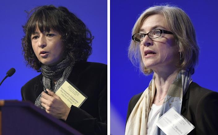 "Emmanuelle Charpentier, left, and Jennifer A. Doudna, who together won the Nobel Prize in chemistry Wednesday for their work on the CRISPR gene-editing tool. <span class=""copyright"">(Susan Walsh/ Associated Press)</span>"