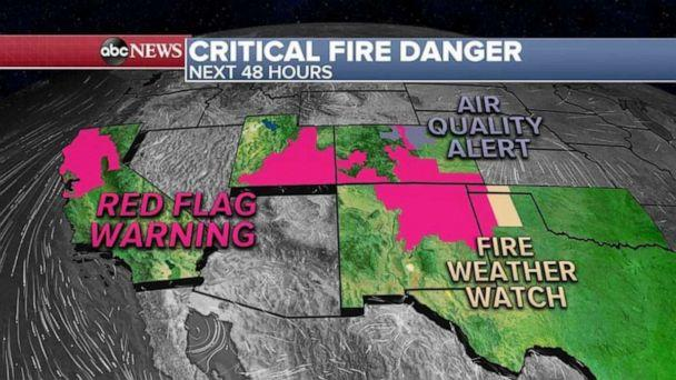 PHOTO: Red Flag Warnings have been issued for 6 states: California, Utah, Colorado, New Mexico, Texas and Oklahoma.   (ABC News)