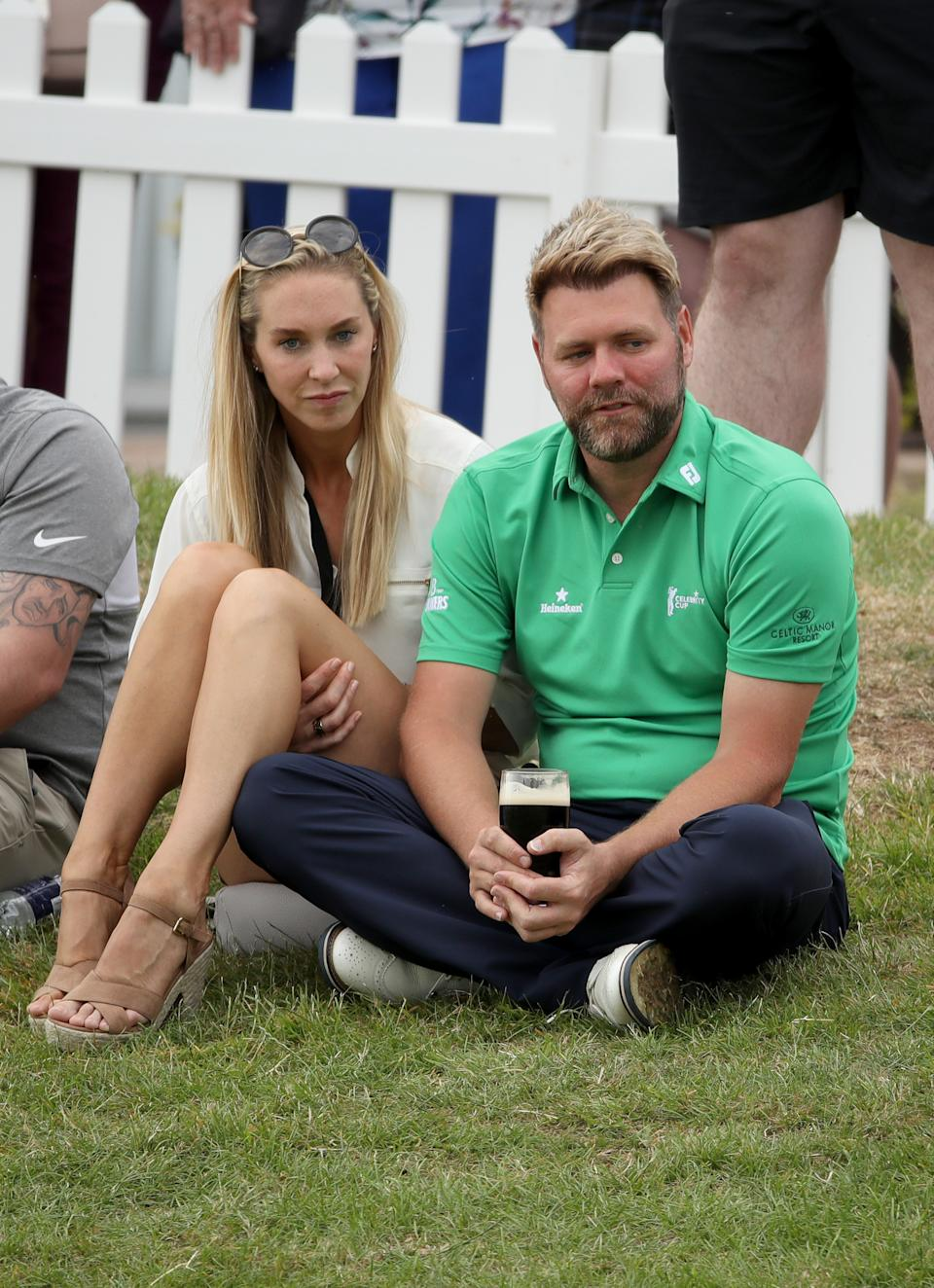 NEWPORT, WALES - JULY 13: Brian McFadden and Danielle Parkinson during The Celebrity Cup 2019 at Celtic Manor Resort on July 13, 2019 in Newport, Wales. (Photo by Mike Marsland/WireImage)
