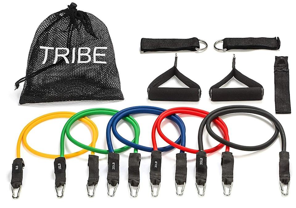 <p>This <span>Tribe Premium Resistance Bands Set</span> ($21) comes complete with 11 pieces including multilevel resistance bands, cushioned handles, a door-safe anchor, ankle straps, and a waterproof bag.</p>