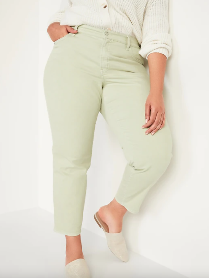 Old Navy High-Waisted Straight Jeans in Valganna Green (Photo via OId Navy)