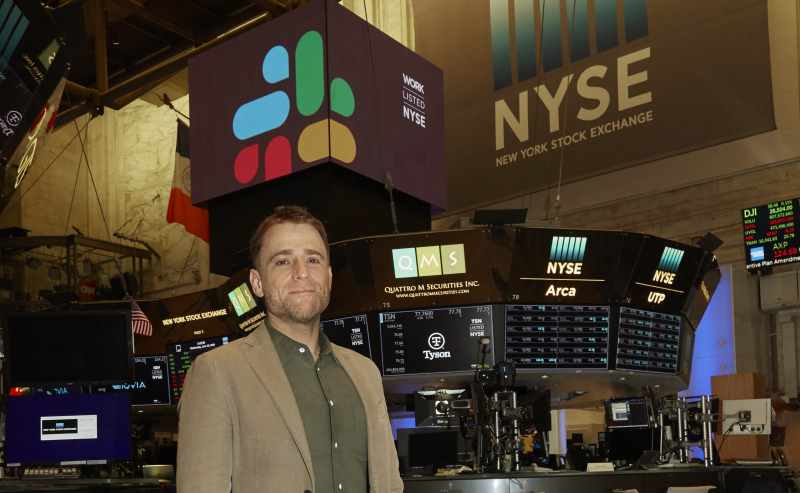 Stewart Butterfield on the floor of the NYSE