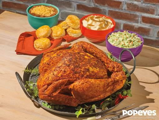 This Louisiana-based chicken chain is cooking up whole, roasted Cajun turkeys for Thanksgiving Day. (Popeyes)