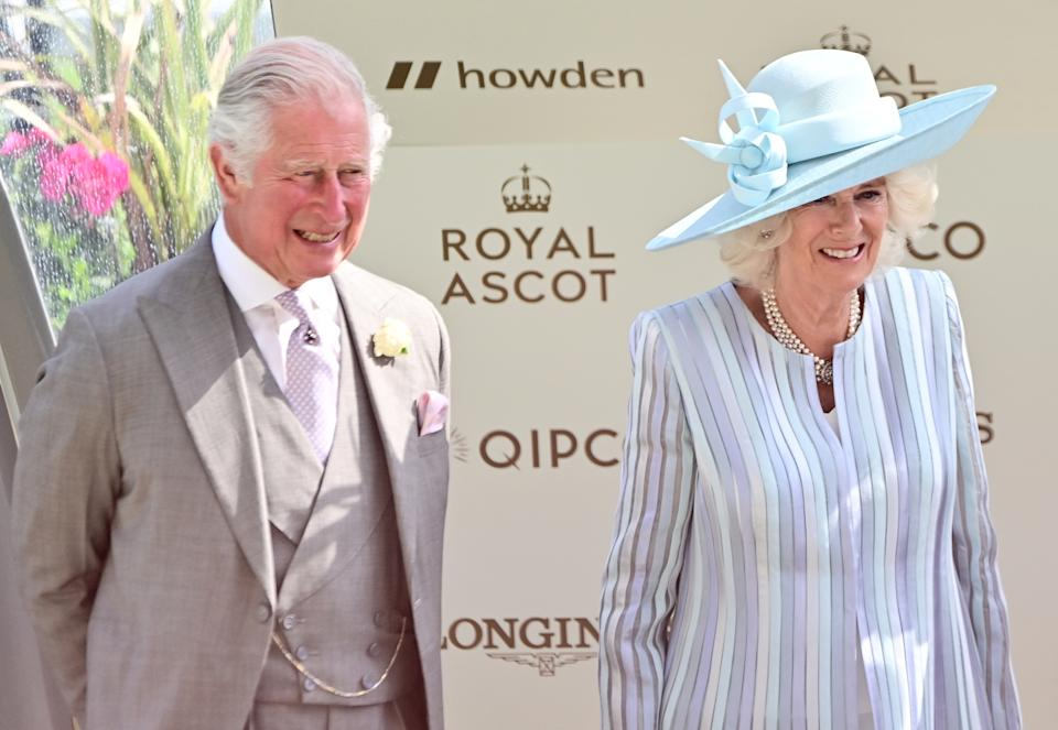 ASCOT, ENGLAND - JUNE 15: Prince Charles, Prince of Wales and Camilla, Duchess of Cornwall attend Royal Ascot 2021 at Ascot Racecourse on June 15, 2021 in Ascot, England. (Photo by Samir Hussein/WireImage)