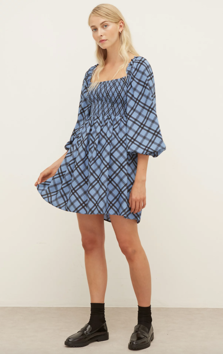 Checked Mini Waisted Dress