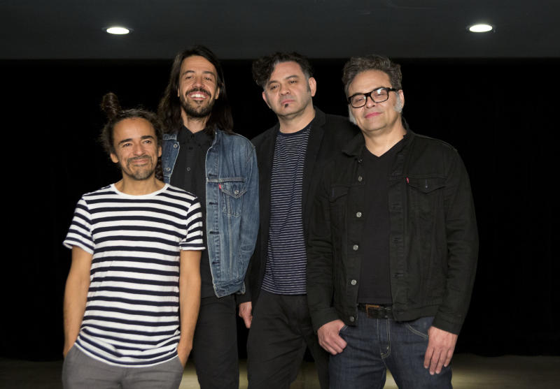 """FILE - In this April 18, 2016 file photo, members of Mexican rock band Cafe Tacvba, Ruben Albarran, from left, Emmanuel """"Meme"""" del Real, Enrique """"Quique"""" Rangel, and Jose Alfredo """"Joselo"""" Rangel. pose before an interview in Mexico City. Cafe Tacvba is embracing its newfound independence with the release of the Mexican rock band's first album without a label in its nearly three-decade career. """"Jei Beibi"""" will be released on May 5, 2017. (AP Photo/Rebecca Blackwell, File)"""