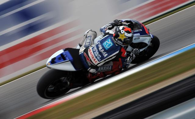 Spanish rider Jorge Lorenzo rides his Yamaha during the Czech Moto GP Grand Prix on August 26, 2012 in Brno. Jorge Lorenzo took second place of the event. AFP PHOTO / MICHAL CIZEKMICHAL CIZEK/AFP/GettyImages