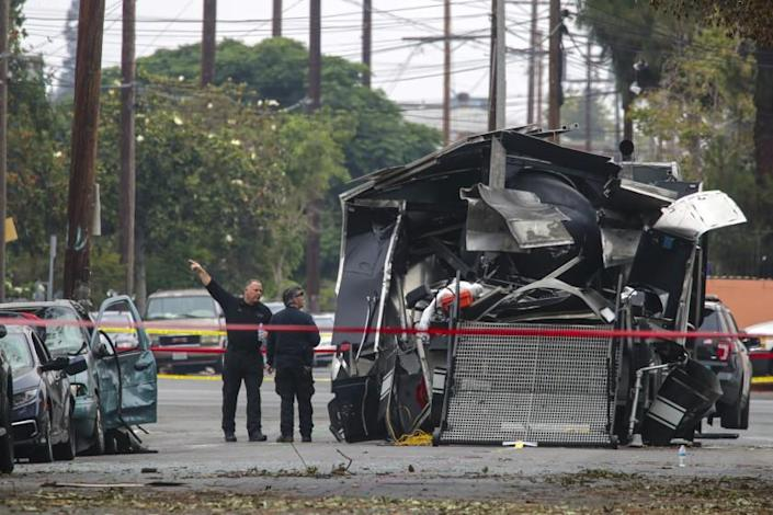 Los Angeles, CA - July 04: Investigation continues in a fireworks explosion that destroyed a LAPD's bomb squad vehicle last Wednesday at 700 block of East 27th Street on Sunday, July 4, 2021 in Los Angeles, CA. (Irfan Khan / Los Angeles Times)
