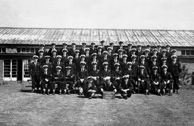 Lieutenant Philip Mountbatten, fifth from left, front row, with Course No 17 at the Royal Naval Petty Officers School, Kingsmoor, Corsham, Wiltshire, in 1947