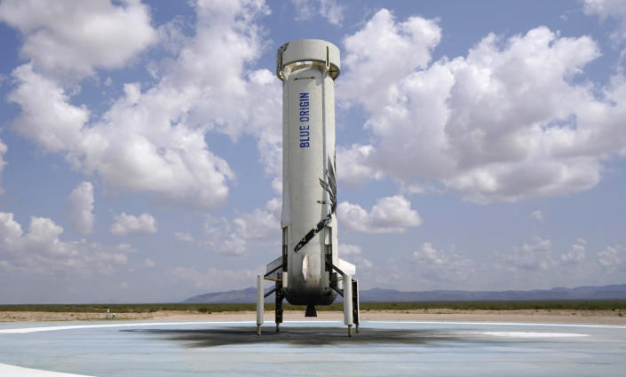 """FILE - Blue Origin's New Shepard rocket sits on the landing pad after carrying passengers Jeff Bezos, founder of Amazon and space tourism company Blue Origin, brother Mark Bezos, Oliver Daemen and Wally Funk, from its spaceport near Van Horn, Texas on July 20, 2021. The performer who breathed life into """"Star Trek's"""" Captain James T. Kirk is, at age 90, heading toward the stars under dramatically different circumstances than his fictional counterpart when Shatner boards Jeff Bezos' Blue Origin NS-18. (AP Photo/Tony Gutierrez, File)"""