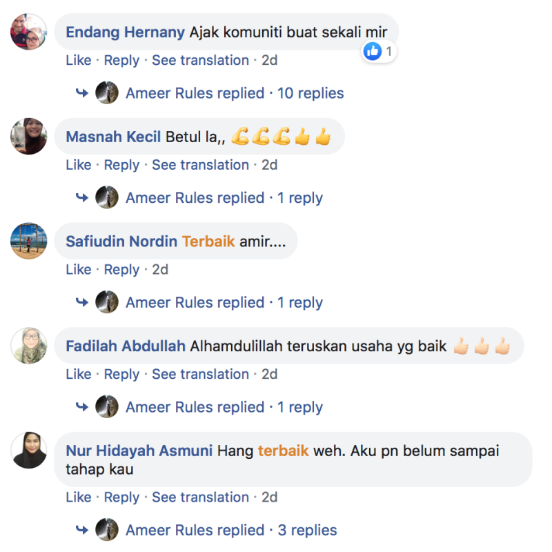 Ameer's Facebook posts have gotten positive reactions from Malaysian Facebook users. — Facebook/ameer.rul.3