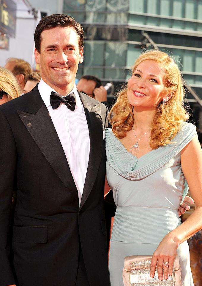 "Jon Hamm (""Mad Men"") and Jennifer Westfeldt arrive at the 61st Primetime Emmy Awards held at the Nokia Theatre on September 20, 2009, in Los Angeles."