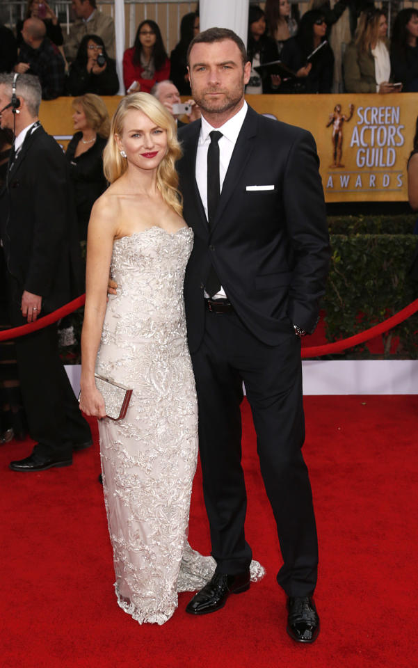 Naomi Watts and Liev Schreiber arrives at the 19th Annual Screen Actors Guild Awards at the Shrine Auditorium in Los Angeles on Sunday Jan. 27, 2013. (Photo by Todd Williamson/Invision for The Hollywood Reporter/AP Images)