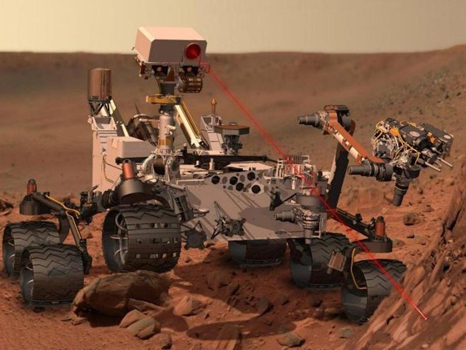 This artists rendering provided by NASA shows the Mars Rover, Curiosity. After traveling 8 1/2 months and 352 million miles, Curiosity will attempt a landing on Mars. (AP)
