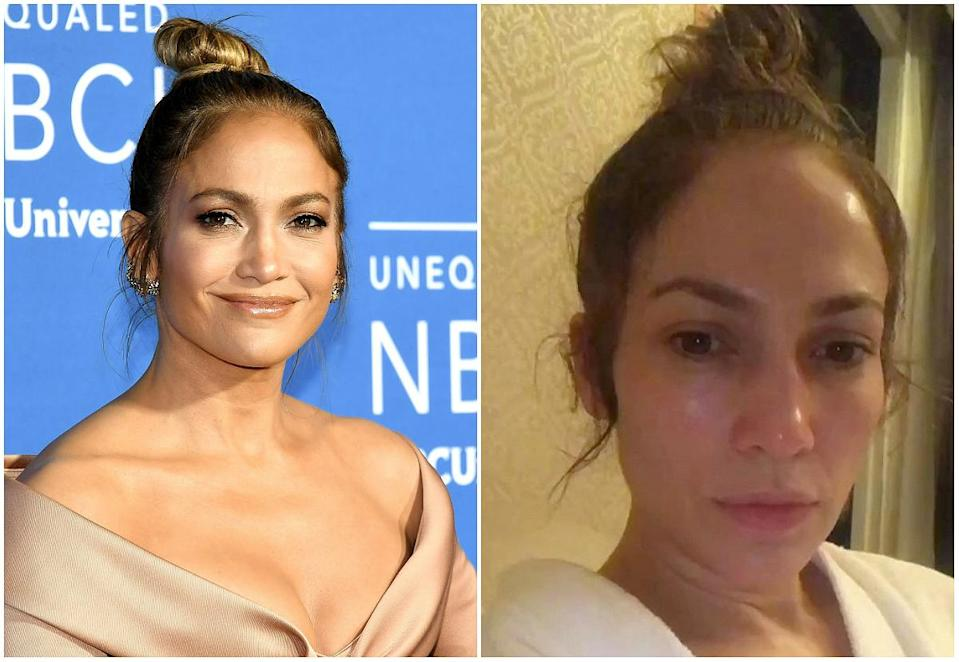 """<p><strong>When: June 2, 2017</strong><br>Jennifer Lopez proved she's still Jenny From The Block in a toned-down Instagram video. """"So this is what it's like before the show,"""" the 47-year-old beauty said coyly. """"I sit here, no hair, no makeup, no nothing. Just trying to get mentally prepared to give you all I have."""" The gorgeous brunette shared the video right before she performed at her """"All I Have"""" residency show at the AXIS at Planet Hollywood, Las Vegas, and fans couldn't get over how dewy and radiant J.Lo's skin looked without makeup. """"What do you use on your skin? You have not aged in years,"""" one woman commented. """"Please help us wrinkly people out."""" <em>(Photo: Getty/Instagram)</em> </p>"""
