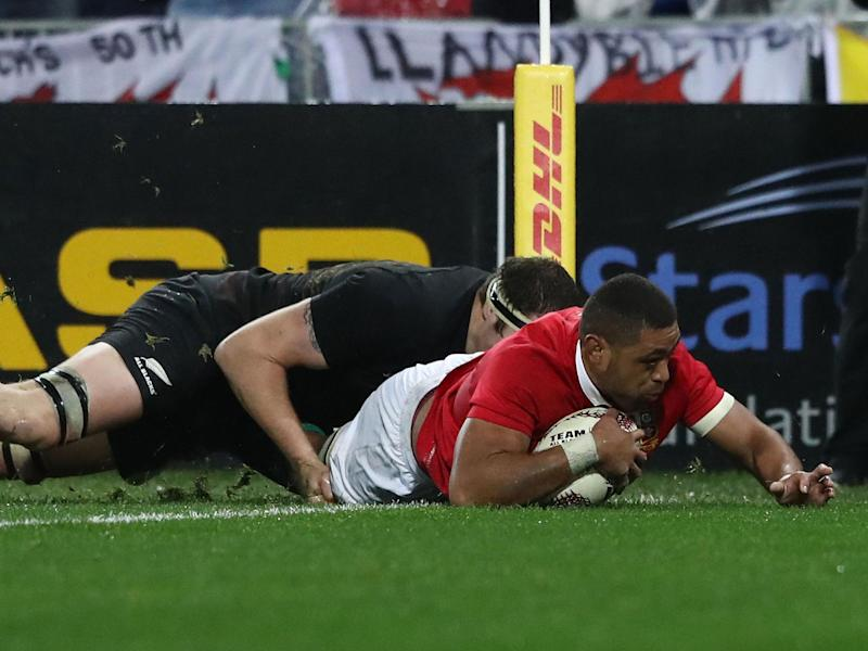 Toby Faletau crashes over for the Lions' first try: Getty