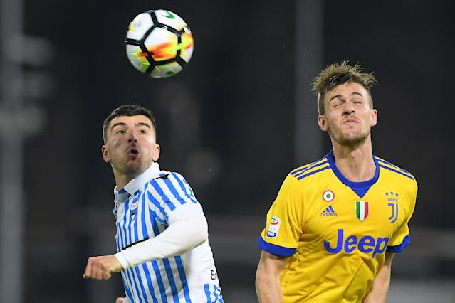 Soccer Football - Serie A - SPAL vs Juventus - Paolo Mazza, Ferrara, Italy - March 17, 2018 Juventus' Daniele Rugani in action with Spal's Alberto Paloschi REUTERS/Alberto Lingria