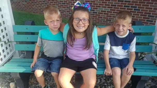 PHOTO: Twin six-year-old brothers Mason and Xzavier Ingle are pictured with their nine-year-old sister Alivia Stahl in an undated family photo. The three were struck and killed by a car near Rochester, Ind., on Oct. 30, 2018. (Courtesy Elgin Ingle)