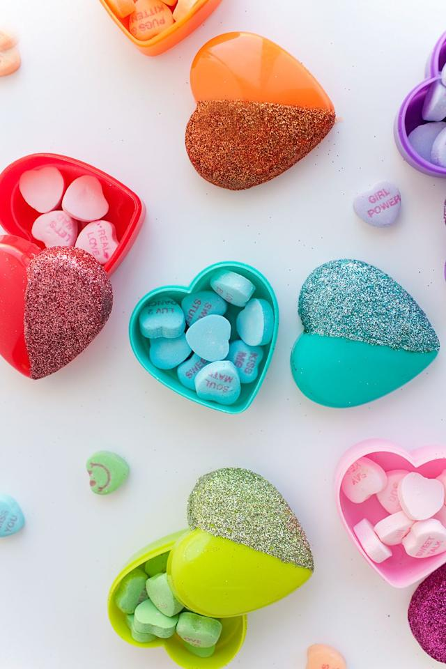 "<p>You were going to gift someone candy hearts, anyway, so put them in a cute box they can reuse long after the candy is gone. </p><p>Get the tutorial at <a rel=""nofollow"" href=""https://tellloveandparty.com/2015/02/tell-diy-glitter-heart-candy-boxes.html"">Tell, Love, and Party</a>.</p>"