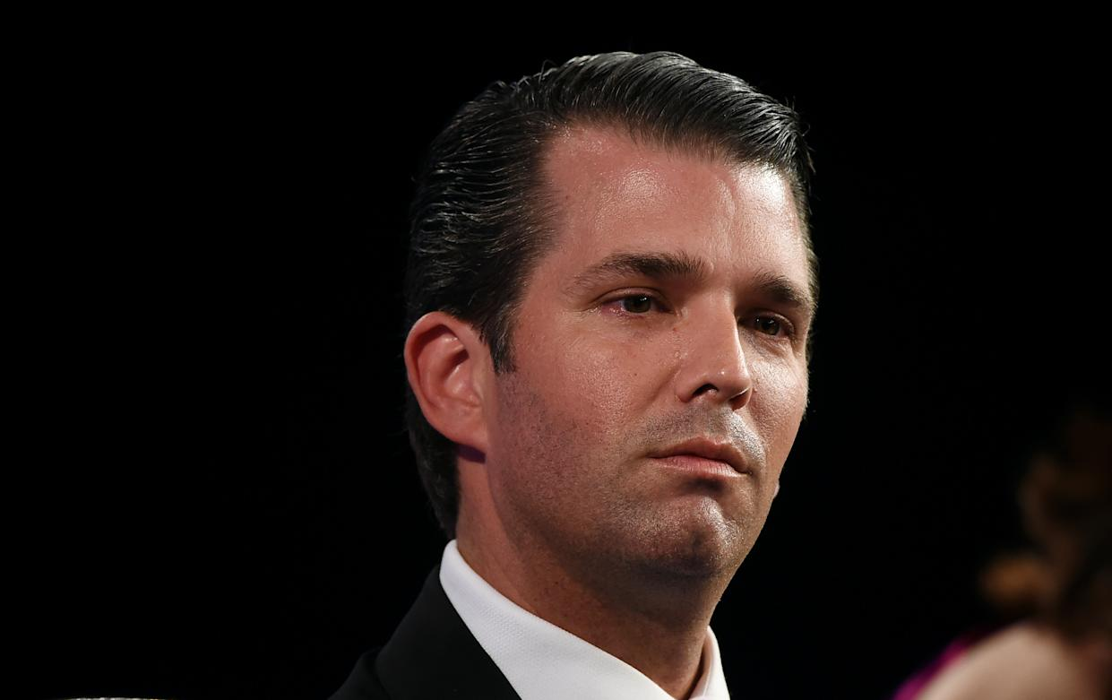 Donald Trump junior, executive vice president of The Trump Organisation, looks on during the Global Business Summit in New Delhi on February 23, 2018. Donald Trump's presidency has cost the family firm