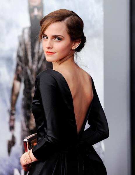 """Actress Emma Watson attends the premiere of """"Noah"""" at the Ziegfeld Theatre on Wednesday, March 26, 2014, in New York. (Photo by Evan Agostini/Invision/AP)"""