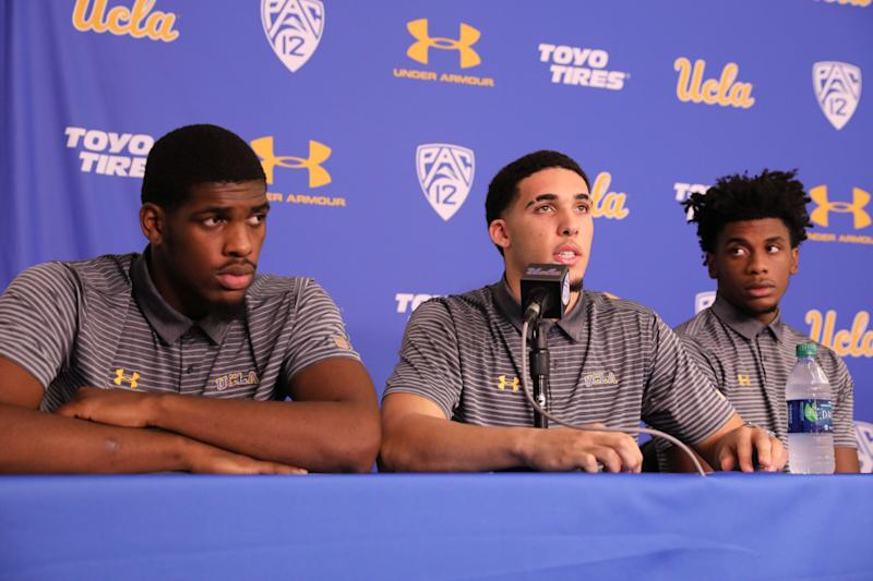 Cody Riley (left), LiAngelo Ball and Jalen Hill speak at a Nov. 15, 2017, press conference at UCLA after flying back from China.