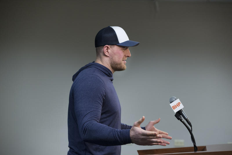 Houston Texans J.J. Watt speaks during a press conference on Tuesday, Dec. 24, 2019, in Houston. Watt will return to practice with the Houston Texans on Tuesday, clearing the way for the star defensive end to play in the team's playoff game in two weeks. (Yi-Chin Lee/Houston Chronicle via AP)