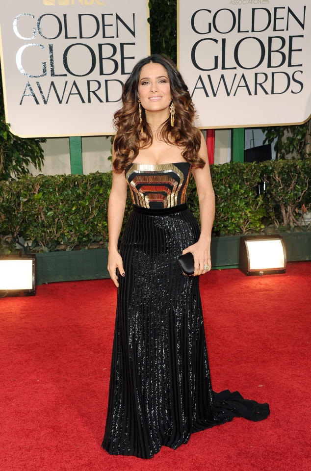 BEVERLY HILLS, CA - JANUARY 15:  Actress Salma Hayek arrives at the 69th Annual Golden Globe Awards held at the Beverly Hilton Hotel on January 15, 2012 in Beverly Hills, California.  (Photo by Jason Merritt/Getty Images)