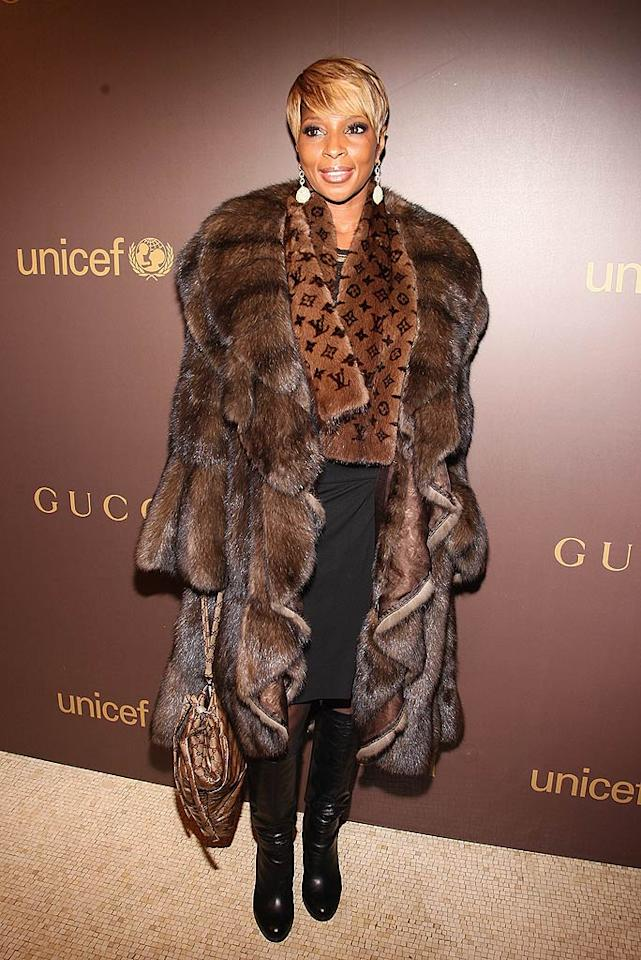 "How many innocent animals had to meet their demise in order to create this cruel and unusual coat worn by Mary J. Blige? Our guess ... at least 20. Theo Wargo/<a href=""http://www.wireimage.com"" target=""new"">WireImage.com</a> - November 19, 2008"
