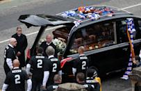 Pallbearer's including former Rangers players Mols, Novo and Buffel at Ricksen's funeral. (Photo by Andrew Milligan/PA Images via Getty Images)