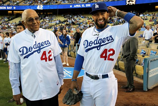 Don Newcombe and Matt Kemp formed a special bond during his time with the Los Angeles Dodgers. (Getty Images)