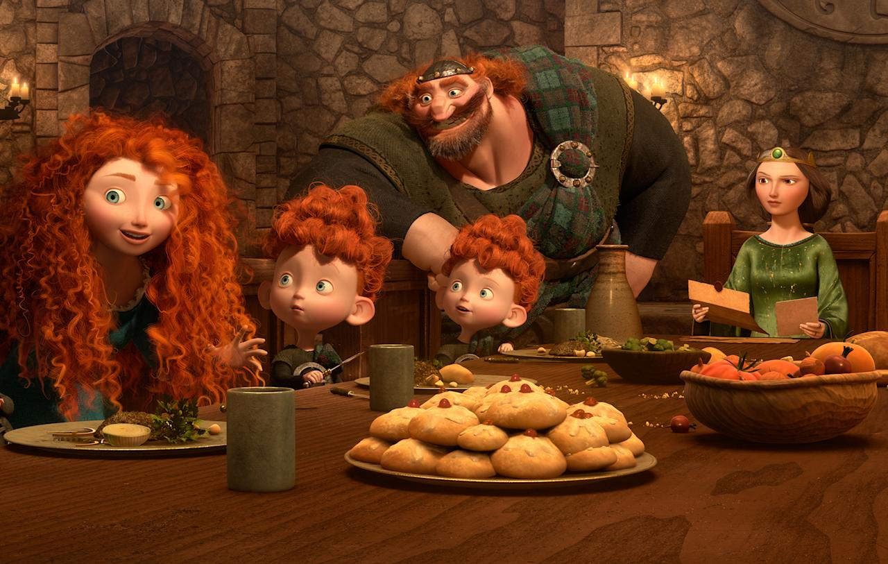 Merida's family is having, amongst other food, tomatoes and potatoes for lunch. Tomatoes and potatoes originate from America and they were not introduced to Europe until 16th century.