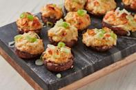 """<p>Everyone loves a good <a href=""""https://www.delish.com/uk/cooking/recipes/a29707397/easy-stuffed-mushroom-recipe/"""" rel=""""nofollow noopener"""" target=""""_blank"""" data-ylk=""""slk:stuffed mushroom"""" class=""""link rapid-noclick-resp"""">stuffed mushroom</a>. In fact, we'd venture to say it's one of the world's best party snacks. They're easy to make and reheat, perfectly bite-sized, and ridiculously delicious. This version is even MORE irresistible with the addition of sweet, tender crab, fresh spring onions, and rich cream cheese.</p><p>Get the <a href=""""https://www.delish.com/uk/cooking/recipes/a32978049/crab-artichoke-stuffed-mushrooms-recipe/"""" rel=""""nofollow noopener"""" target=""""_blank"""" data-ylk=""""slk:Classic Stuffed Peppers"""" class=""""link rapid-noclick-resp"""">Classic Stuffed Peppers</a> recipe.</p>"""