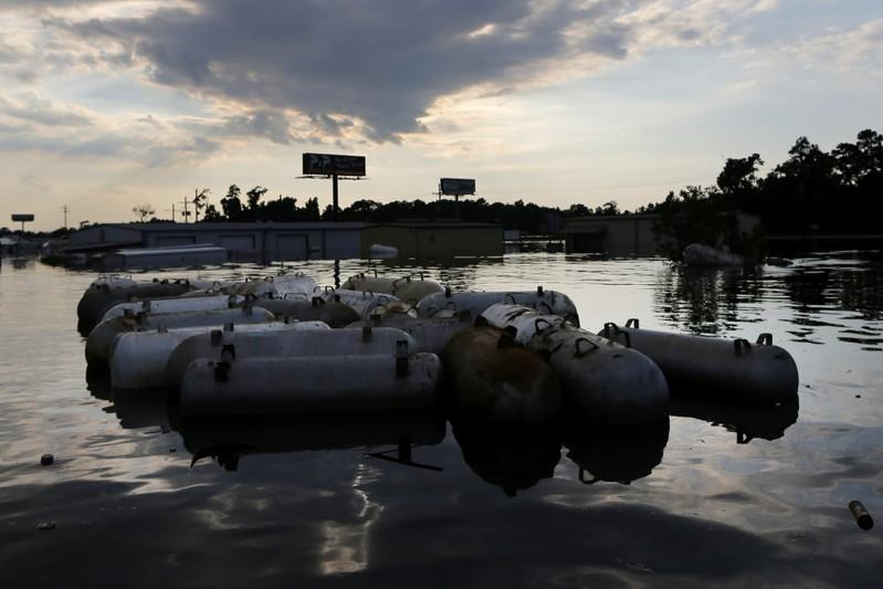 Flood waters from Tropical Storm Harvey surround propane tanks in Rose City, Texas