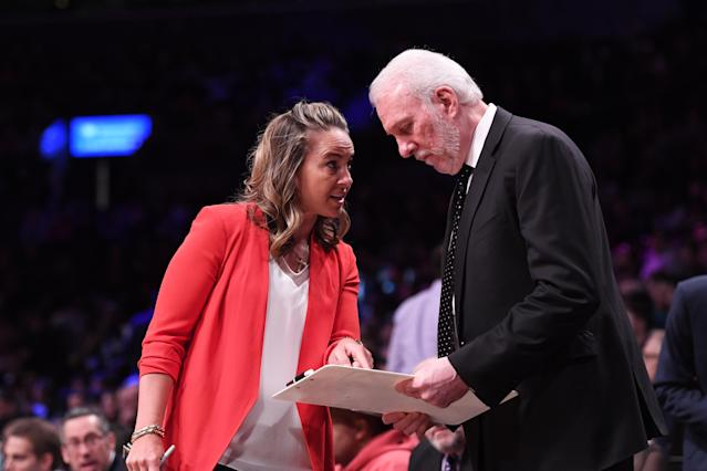 Firsts are nothing new to Hammon. She was the first salaried, full-time female assistant coach in the NBA; the first female head coach of an NBA Summer League team; the first woman to coach in an NBA All-Star Game; and the first woman to be promoted to top assistant coach of an NBA team. And the list just keeps growing. After being the first woman to interview for a head coaching job last year, albeit unsuccessful, Hammon might be wearing an NBA head coach title soon.