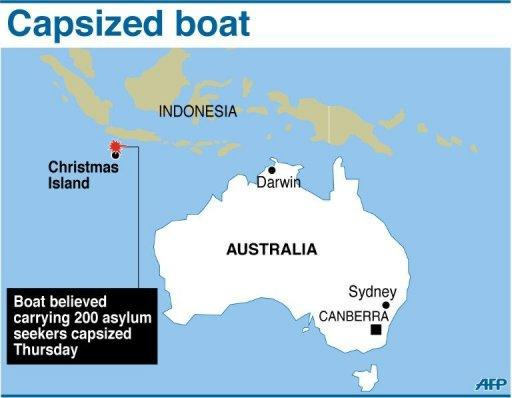 A map showing Christmas Island where Australian authorities said a boat believed carrying 200 asylum seekers capsized on Thursday