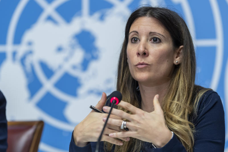 "FILE - In this Wednesday, Jan. 29, 2020 file photo, Maria van Kerkhove, head of the Outbreak Investigation Task Force for the World Health Organization speaks during a news conference regarding the COVID-19 coronavirus, at the European headquarters of the United Nations in Geneva, Switzerland. On Jan. 8, the Wall Street Journal reported that scientists had identified a new coronavirus in samples from pneumonia patients in Wuhan, pre-empting and embarrassing Chinese officials. A Chinese Center for Disease Control and Prevention lab technician told The Associated Press they first learned about the discovery of the virus from the Journal. The article also embarrassed WHO officials. Van Kerkhove acknowledged WHO was ""already late"" in announcing the new virus and told colleagues that it was critical to push China. (Martial Trezzini/Keystone via AP)"