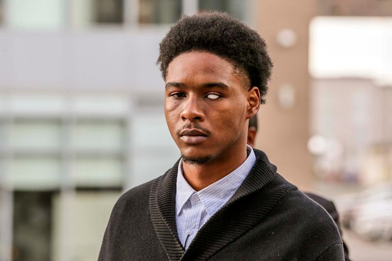 Dafonte Miller arrives to Durham Region Courthouse in Oshawa on Nov. 29, 2019 during the trial of Christian and Michael Theriault. Miller lost his eye following an altercation with an off-duty Toronto police officer, Michael, and his brother, both of whom are white. (Photo: Andrew Francis Wallace via Getty Images)