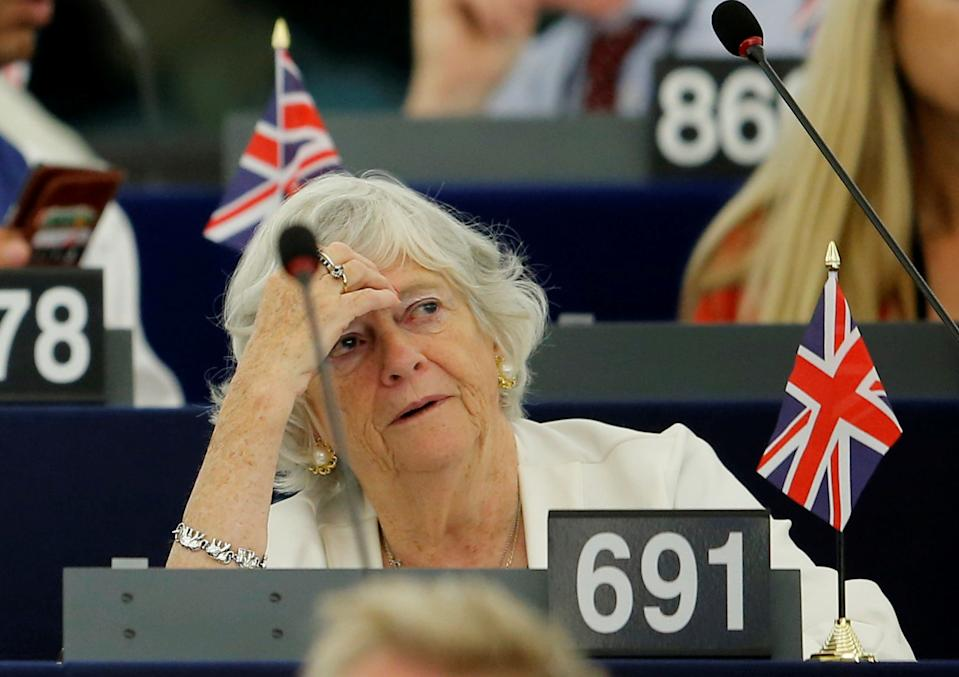Brexit Party member and MEP Ann Widdecombe attends a debate on the last European summit at the European Parliament in Strasbourg, France, July 4, 2019. Picture taken July 4, 2019.  REUTERS/Vincent Kessler