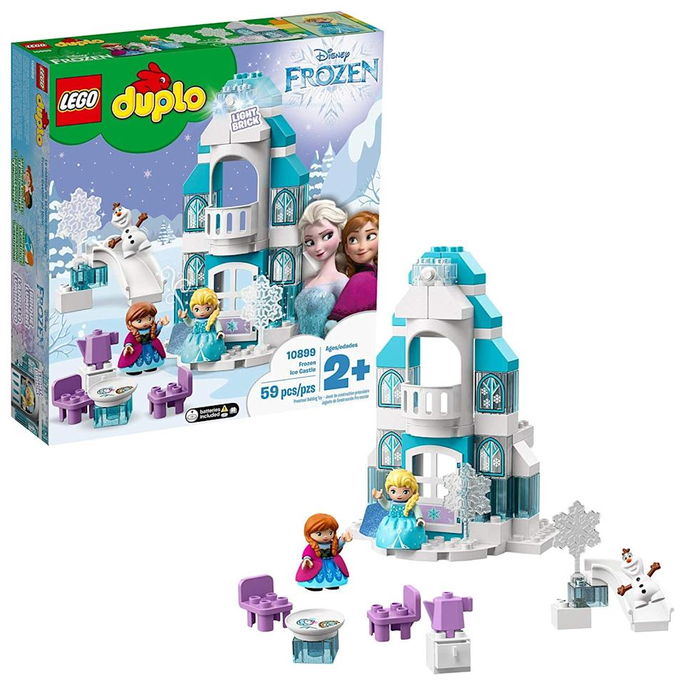 """<p>With pieces big enough for little ones, a <a href=""""https://www.popsugar.com/buy/Lego-Duplo-Disney-Frozen-Ice-Castle-514858?p_name=Lego%20Duplo%20Disney%20Frozen%20Ice%20Castle&retailer=amazon.com&pid=514858&price=40&evar1=moms%3Aus&evar9=46010032&evar98=https%3A%2F%2Fwww.popsugar.com%2Ffamily%2Fphoto-gallery%2F46010032%2Fimage%2F46875745%2FLego-Duplo-Disney-Frozen-Ice-Castle&list1=gift%20guide%2Ctoddlers%2Ckid%20shopping%2Cgifts%20for%20toddlers&prop13=api&pdata=1"""" rel=""""nofollow"""" data-shoppable-link=""""1"""" target=""""_blank"""" class=""""ga-track"""" data-ga-category=""""Related"""" data-ga-label=""""https://www.amazon.com/dp/B07QR7GC1Y?"""" data-ga-action=""""In-Line Links"""">Lego Duplo Disney Frozen Ice Castle </a> ($40, originally $50) will be a surefire hit for kids who just can't seem to let it go.</p>"""
