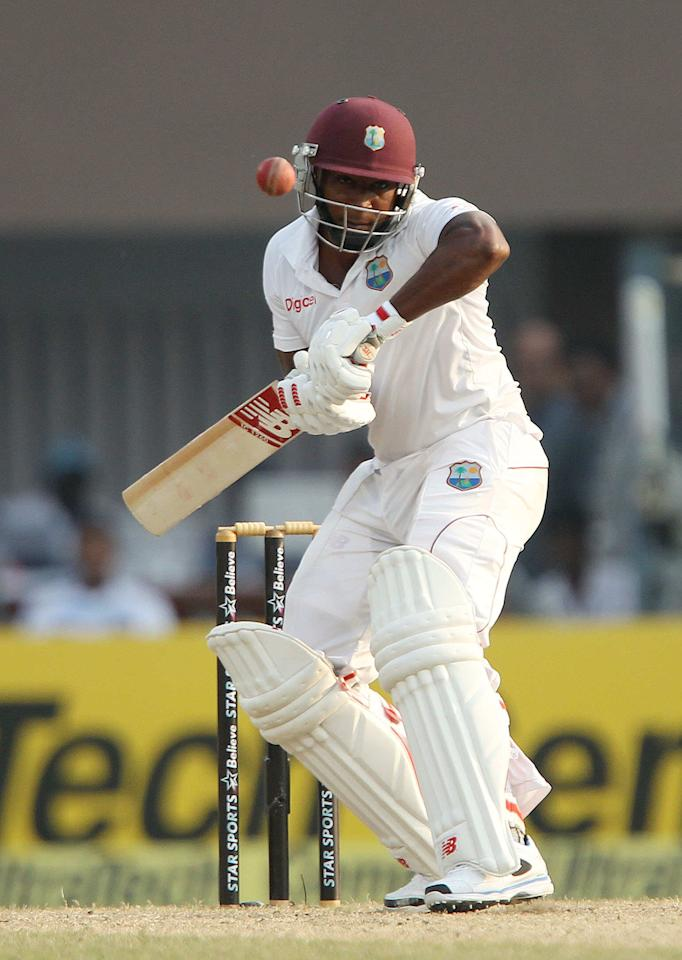 Tino Best of West Indies avoids a rising delivery from Mohammed Shami during day three of the first Star Sports test match between India and The West Indies held at The Eden Gardens Stadium in Kolkata, India on the 8th November 2013  Photo by: Ron Gaunt - BCCI - SPORTZPICS